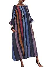 فستان ماكسي طويل الأكمام بياقة دائرية للنساء من GAGA