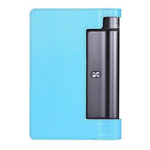 Funda de Cuero PU 3 PUS PUS PUS PUS PUS DE Lichee PATERIA PUS para Lenovo Yoga Tab 3 Pro 10 X90 X90F X90L Cubierta DE Flip YT-X703L X703F-Azul