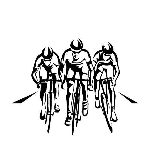 Calcomanía de vinilo Three Riders road bike racing sports Tour of France Jugador de bicicleta Etiqueta de la pared Habitación de los niños dormitorio de niño GYM Club decoración arte mural cartel