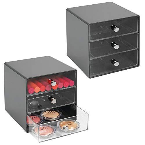 mDesign 2er-Set Schubladenbox aus robustem Kunststoff – praktischer Kosmetik Organizer mit drei Schubladen – stilvolles Schubladensystem mit Chromgriffen – schiefergrau/durchsichtig