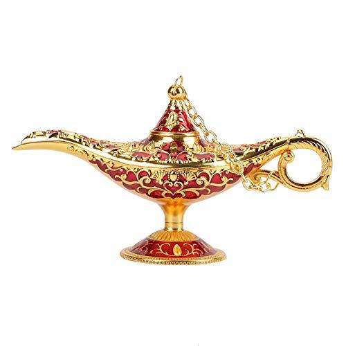 Aladdin Light Lamp, Incense Holder, Collectable Rare Classic Vintage Legend Zinc Alloy Aladdin Magic Genie Light Wishing Lamp Pot con Exquisito Hueco Tallado.6 Colores Disponibles(Oro + Rojo)
