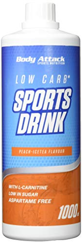 Body Attack Zero Sports Drink, Peach Ice Tea/Pfirsich Eistee, 1x 1000 ml / 200 Portionen, Sportgetränkekonzentrat, zucker- und fettarm, vegan, Made in Germany