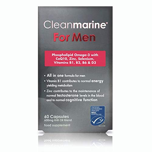 Cleanmarine for Men - Men's Multivitamin - Highly Absorbable Omega 3 with Vitamins B1, B6 & D, Zinc, Selenium & Coq10-30 Servings, Omega 3 Krill Oil - 60 Capsules