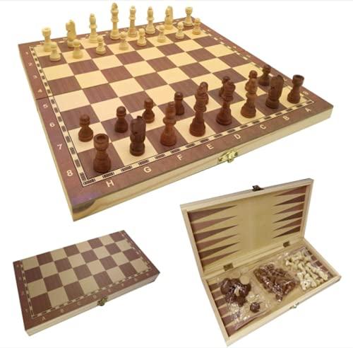 M L Juego de ajedrez 3 en 1 de Madera- ajedrez Artesanal - Juego de Damas de Backgammon de Madera Tablero de Ajedrez Plegable 25CM