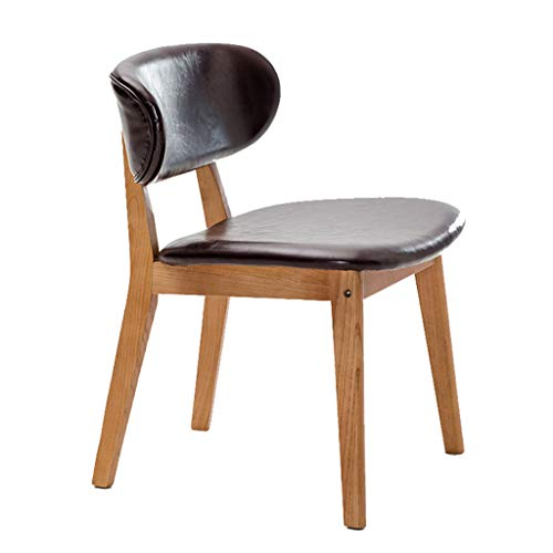 Chaise Home Chaise De Réception De Loisir avec Assise en Bois Massif Et Coussin De Siège en PU Fauteuils Cabriolets (Couleur : Marron foncé)