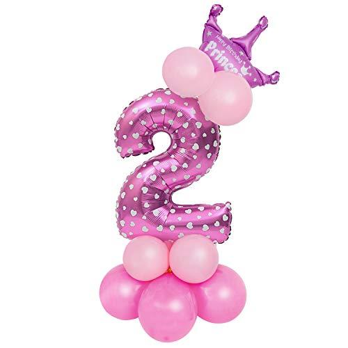 Globo Número Gigante, Comius Sharp 32 Pulgadas Globo Número Cumpleaños para Fiesta de cumpleaños y Aniversarios (Pink Number 2)