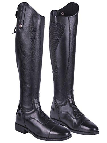 QHP Damen Lederreitstiefel Nina mit Anti-Slip Beschichtung an der Innenseite Normale Wadenweite (40, Schwarz)