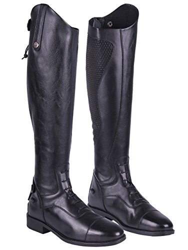 QHP Damen Lederreitstiefel Nina mit Anti-Slip Beschichtung an der Innenseite Weite Wadenweite (37, Schwarz)