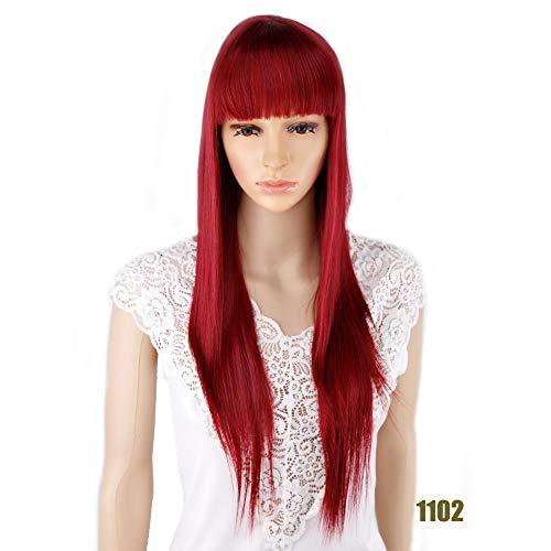 DER Lange gerade Cosplay perücke schwarz lila schwarz rot blond Dunkelbraun 68cm kunsthaar perücken (Color : Red, Stretched Length : 26inches)