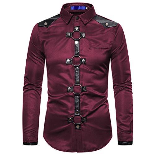 Sannysis Herren Steampunk Hemd Shirt Freizeit Langarmshirts Gothic Vintage Tops Slim Fit Langarm Kleidung Manner Mode Uniform für Halloween Karneval Weihnachten (M, Rot)