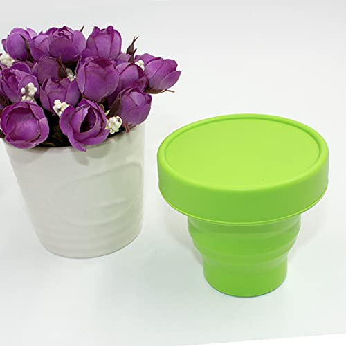 HLJS Pack of 3 Camping Folding Cup Silicone Foldable Drinking Cup Collapsible Water Bowl Foldable Travel Mug with Lid Silicone Travel Cup for Outdoor Activities 101-200 ml (Green)