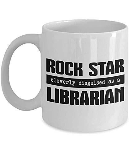Regalos de Iconicpassion Librarian: Rock Star disfrazado de bibliotecario,11 oz,blanco
