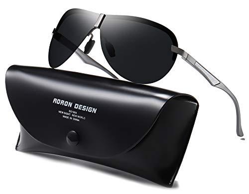AORON Polarisierte Herren Sonnenbrille Metallrahmen Fahrer Brille Outdoor Sportarten UV400-Schutz (Grau)