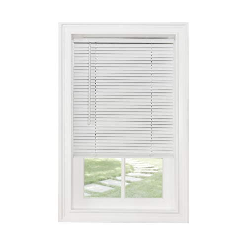 Achim Home Furnishings Cordless Morningstar 1' Light Filtering Mini Blind, Width 34inch, Pearl White