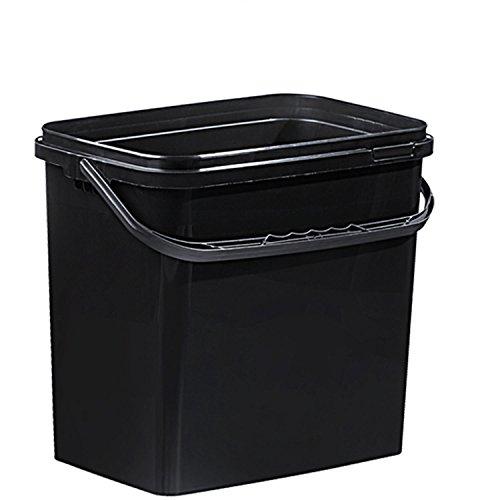 Kunststoff Rechteck Eimer 10 Liter schwarz mit Deckel (1Stück)