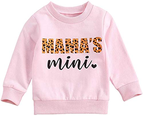 MoccyBabeLee Toddler Baby Girl Sweatshirts Mama's Mini O Neck Long Sleeve Crewneck Pullover Tops Fall Winter Warm Clothes (Pink-Mama Mini,6-12 Monate)