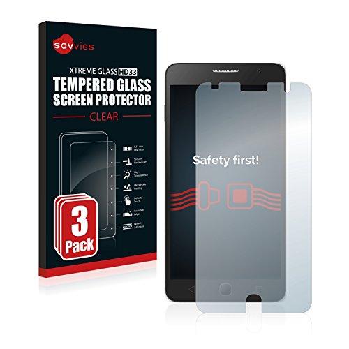 Savvies Panzerglas kompatibel mit Alcatel One Touch Pop Star (3 Stück) - Echt-Glas, 9H Festigkeit, Anti-Fingerprint