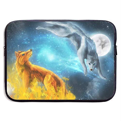 Funda Impermeable para portátil de 15 Pulgadas, maletín de Negocios Ice Fire Wolves, Bolsa Protectora, Funda para Ordenador BAG-4136
