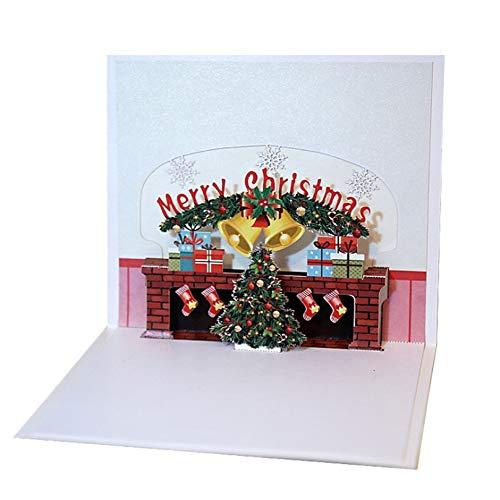 Kerstmis Open haard Kerstmis Driedimensionale Wenskaart Handgemaakte 3D Papier Carving Handgemaakte Card houlian shop-11.11