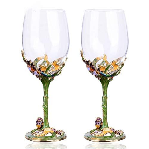 Yousiju Copa de Vino de Cristal Hecha a Mano con Esmalte Floral Europeo, colección de Copas de Vino Tinto de Moda, Regalo de cumpleaños de Boda (Color : B)