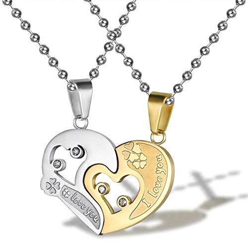 nice cheng Love Jigsaw Puzzle Colgante Collar De Pareja De Acero De Titanio Regalo De Cumpleaños