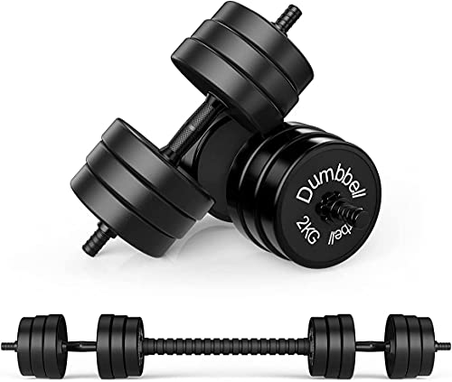 Nice C Adjustable Dumbbell Barbell Weight Pair, Free Weights 2-in-1 Set, Non-Slip Neoprene Hand, All-Purpose, Home, Gym, Office (Black Barbell 33LB or 16 LB Dumbbell Set)