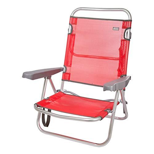 Aktive 53970 - Silla plegable multiposición aluminio 61 x 43 x 82 cm - rojo