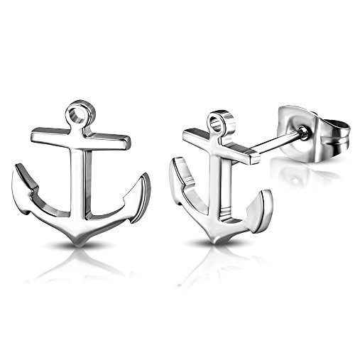 Bungsa Anker Ohrstecker silber - 1 Paar Edelstahl (Ohrringe Ohrschmuck Anchor Marine Sailing Ohrklemmen Damen Frauen Herren Mode Studs Earrings)
