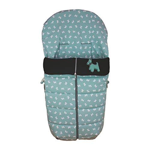 Saco Silla de Paseo Universal Rosy Fuentes- Saco Carrito Bebé - Funda de silla de paseo - Equipado para ser Ajustado perfectamente - Elaborado en Punto jersey estampado perritos - Color verde