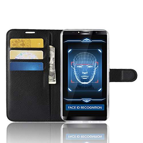 TenYll Oukitel K6 Wallet Tasche Hülle, PU Schutzhülle [Premium Leder] [Ultra Slim] [Card Slot] [Ständer] Flip Wallet Hülle Etui für Oukitel K6 -Schwarz