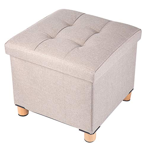 BRIAN & DANY Sitztruhe Sitzhocker Fußhocker mit Stauraum und Deckel mit Holzfüßen, 38 x 38 x 40 cm, Beige