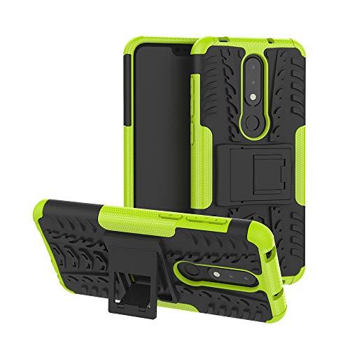 MRSTER Nokia 6.1 Plus Hülle, Outdoor Hard Cover Heavy Duty Dual Layer Armor Hülle Stoßfest Schutzhülle mit Ständer Handyhülle für Nokia 6.1 Plus (2018). Hyun Green