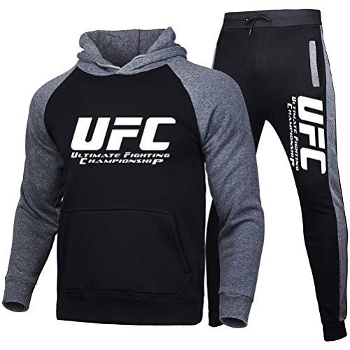 Sudadera con Capucha Impresa Traje De Ropa Deportiva Al Aire Libre, MMA Fitness UFC Impresa con Capucha Y Pantalones, Primavera/Verano, 7 Colores (Color : Black, Size : X-Large)