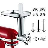 Metal Food Grinder Attachment for KitchenAid Stand Mixer Included 3 Sausage Stuffer Tubes Accessory,...