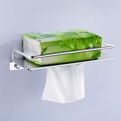 WLVG Perforación Espacio de instalación Soporte de Papel higiénico de Aluminio Espejo Pulido Impermeable Anticaída Colgante de Pared Papel de baño Toallero, 25x12cmx3.5cm