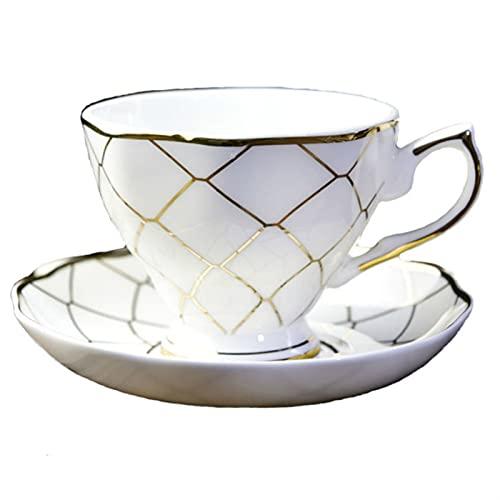 Chenhan 10.1 oz Originalidad Cerámica Café de café Platos Traje Restaurante Té de la Tarde  Taza de té Negro Tazas de café Latte (Blanco)