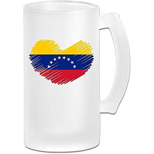 Taza de tazas de café, bandera venezolana en forma de corazón vidrio esmerilado cerveza agua taza tazas de té para viajes regalo de fiesta de cumpleaños, 500 ml, 16 oz