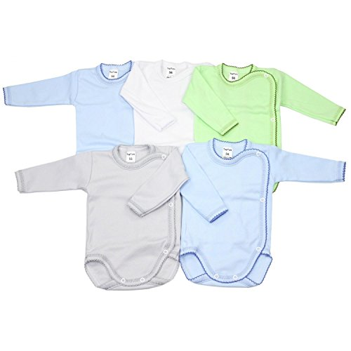 TupTam TupTam Unisex Baby Wickelbody Langarm 5er Set, Farbe: Junge, Größe: 56
