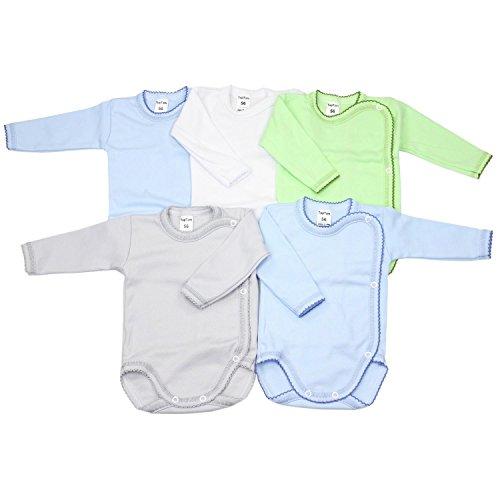TupTam Unisex Baby Langarm Wickelbody aus Baumwolle 5er Set, Farbe: Junge, Größe: 74