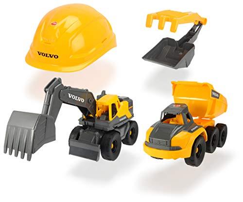 Dickie - Set de construcción Volvo, Incluye 2 vehículos, Casco, Pala y rastrillo, tamiz (Simba, 3729013)