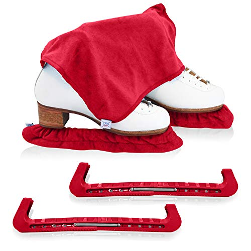 CRS Cross Skate Guards, Soakers & Towel Gift Set - Ice Skating Guards and Soft Skate Blade Covers for Figure Skating or Hockey (Russian Split Red, Large)