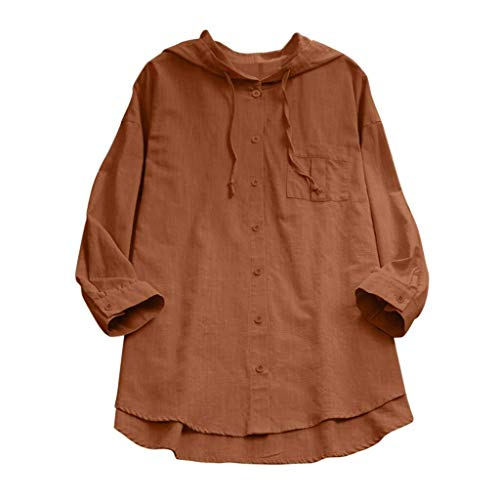 Ladies Women Summer Sleeve Short Casual Loose T Shirt Cotton Special Style Linen Blouse for Mother S Day (Color : A9-Kaffeebraun, One Size : Eu-42/Cn-Xl)