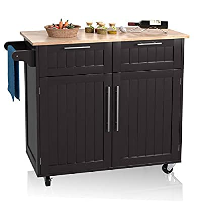 Giantex Kitchen Island Cart Rolling Storage Trolley Cart Home and Restaurant Serving Utility Cart with Drawers,Cabinet, Towel Rack and Wood Top by Giantex