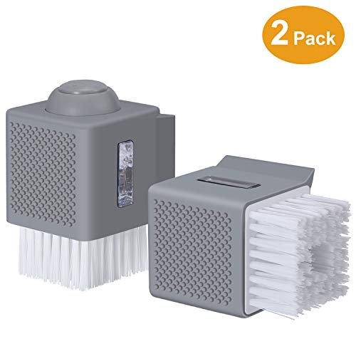 AYOTEE Multifunctional Palm Brush with Soap Dispenser,Dish Washing Scrubber for Dishes Pot Pan Kitchen Sink Cleaning,2 Pack