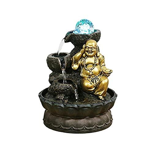 Fuente Fuente de la cascada de la cascada de la tableta de Buda Fengshui Ball Office Decoration - Cascada con flujo de agua circular adecuado para decoración del dormitorio de oficina fuente de mesa
