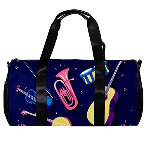 Borsone da palestra rotonda con tracolla staccabile strumento musicale chitarra violino, tamburo jazz allenamento borsa per la notte per donne e uomini