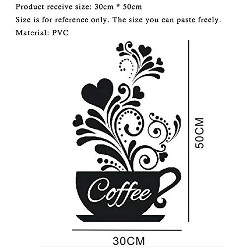 NO LOGO MHB-Fitness Kreative Blumen-Rebe Kaffeetasse-Wandaufkleber for Cafe Restaurant Dekoration Tattoo Tapeten Hand geschnitzt Küche Aufkleber, Billig und gut