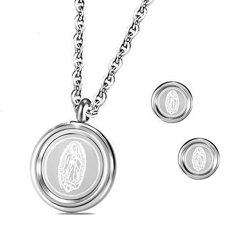 Daesar Conjuntos de Joyas para Mujer Virgen María Conjunto de Mujer Pendientes y Collar Plata