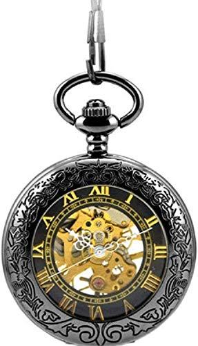ZHTY Acero de tungsteno Negro 57 Lupa multifunción Flip Retro mecánico de Cuerda Reloj de Bolsillo Hombres y Mujeres Estudiante Reloj de Bolsillo Hueco Decorar
