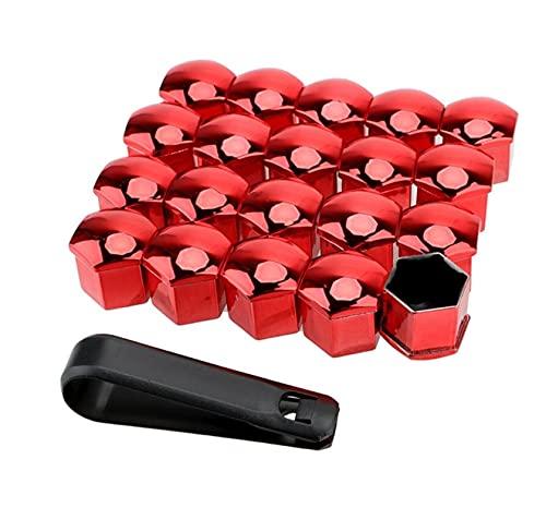 20 unids Coche Tuerca Tuerca Tapas Perno Remo 21mm Auto Hub Tornillo Tornillo Tapas Protección Tapas Prueba de polvo Decoración exterior Anti-Rust Rust (Color : Rojo)